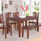 DUDLEY 6PC RECTANGULAR DINING DINETTE SET TABLE AND 4 WOOD SEAT CHAIRS & BENCH. SKU: DU6-WC-MAH