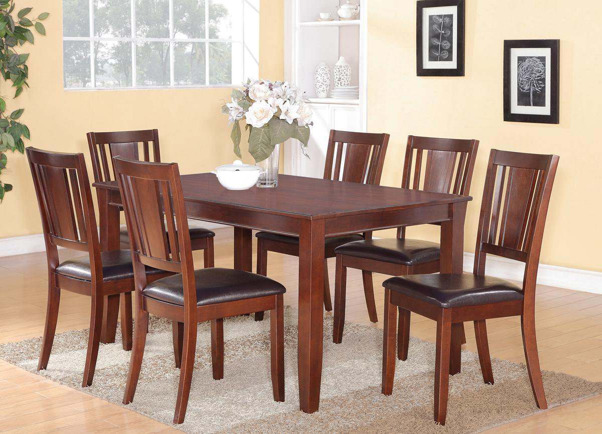 dudley 6pc rectangular dining set table and 4 faux leather s