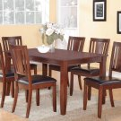 DUDLEY 7PC RECTANGULAR DINING DINETTE SET TABLE AND 6 FAUX LEATHER SEAT CHAIRS. SKU: DU7-LC-MAH