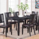 DUDLEY 7PC RECTANGULAR DINING DINETTE SET TABLE AND 6 FAUX LEATHER SEAT CHAIRS. SKU: DU7-LC-BLK