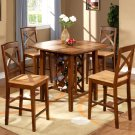 3-PC Napoli Square Counter Height set with Wine Rack-Espresso & Cinamon Finish. SKU: NPL3-ESP