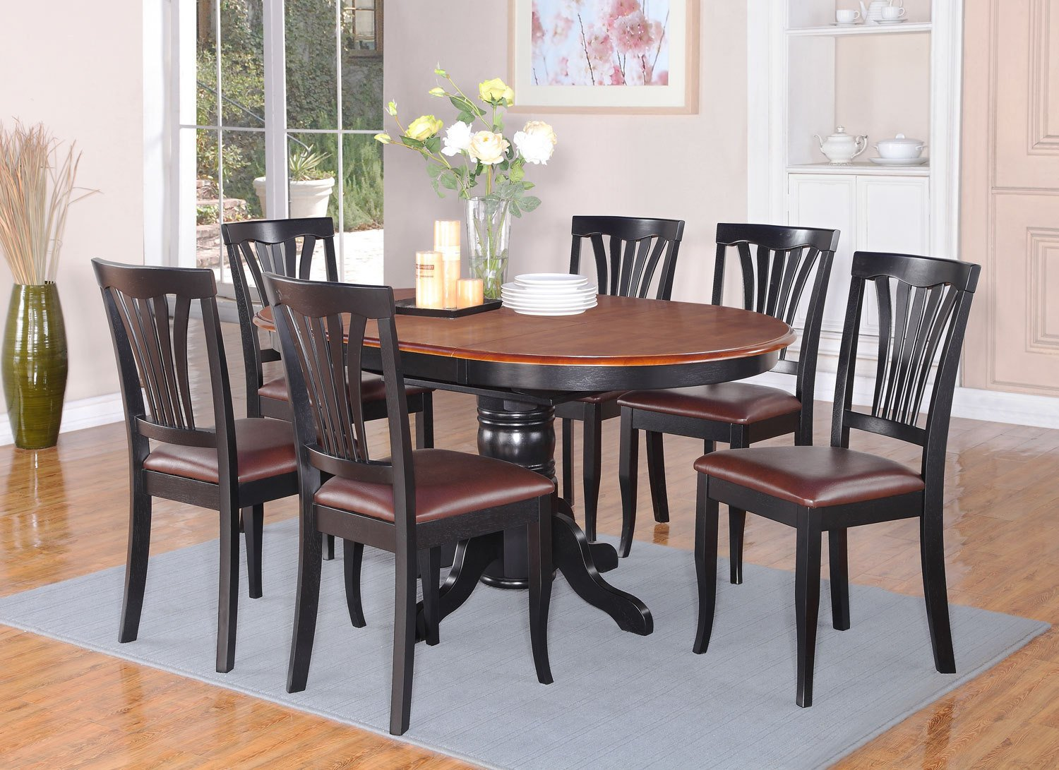 7pc dining room set oval table and 4 faux leather upholstered seat
