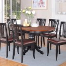 7PC DINING ROOM SET OVAL TABLE AND 4 FAUX LEATHER UPHOLSTERED SEAT CHAIRS