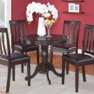 5PC ROUND DINETTE TABLE SET AND 4 FAUX LEATHER SEAT CHAIRS IN CAPPUCCINO COLOR