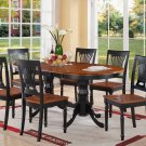 "7-PC Plainfield Dining Table Set + 6 Chairs - Size: 42""x78"" in Black & Cherry. SKU:PLV7-BLK-W"