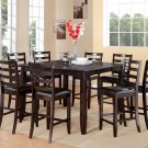 "Fairwinds 9-PC Square Counter Height Dining Table Set in Cappuccino -Size:54'x54"".  SKU: F9-CAP-LC"