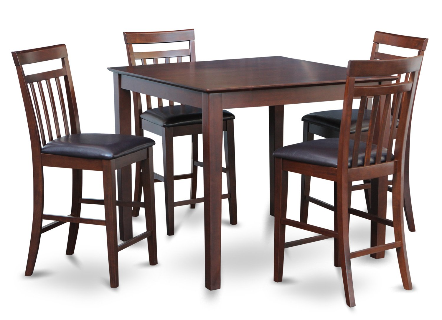 East west 5 pc square pub counter height table dinette set for Square dinette sets