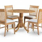 "5-Piece Dublin dinette kitchen  42"" diameter round table & 2 chairs in Oak Finish.SKU:DNO5-OAK-C"