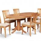 """7-PC Vancouver Oval  Dining Room Table Set-17"""" extension leaf in Oak.  SKU:  VAV7-OAK-C"""