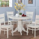 5 PC SHELTON 42 IN ROUND KITCHEN DINETTE TABLE & 4 CHAIRS IN WHITE SR5-WHI-W