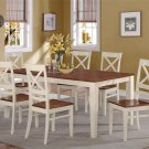 7PC RECTANGULAR DINETTE DINING SET TABLE AND 6 WOOD SEAT CHAIRS IN BUTTERMILK QU9-WHI-W