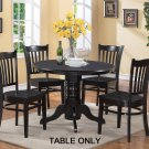 Dinette kitchen table with single pedestal - 42 in diameter finished in Black color. NO CHAIR