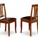 2 AVON DINING CHAIR WITH FAUX LEATHER UPHOLSTERED SEAT IN COLOR SADDLE BROWN