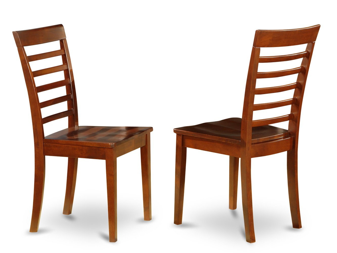 Set of 4 milan ladder slat back dining room chairs with seat in saddle brownfinish - Ladder back dining room chairs ...