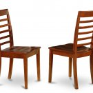 Set of 4 Milan Ladder slat back dining room chairs with  seat in Saddle Brownfinish.