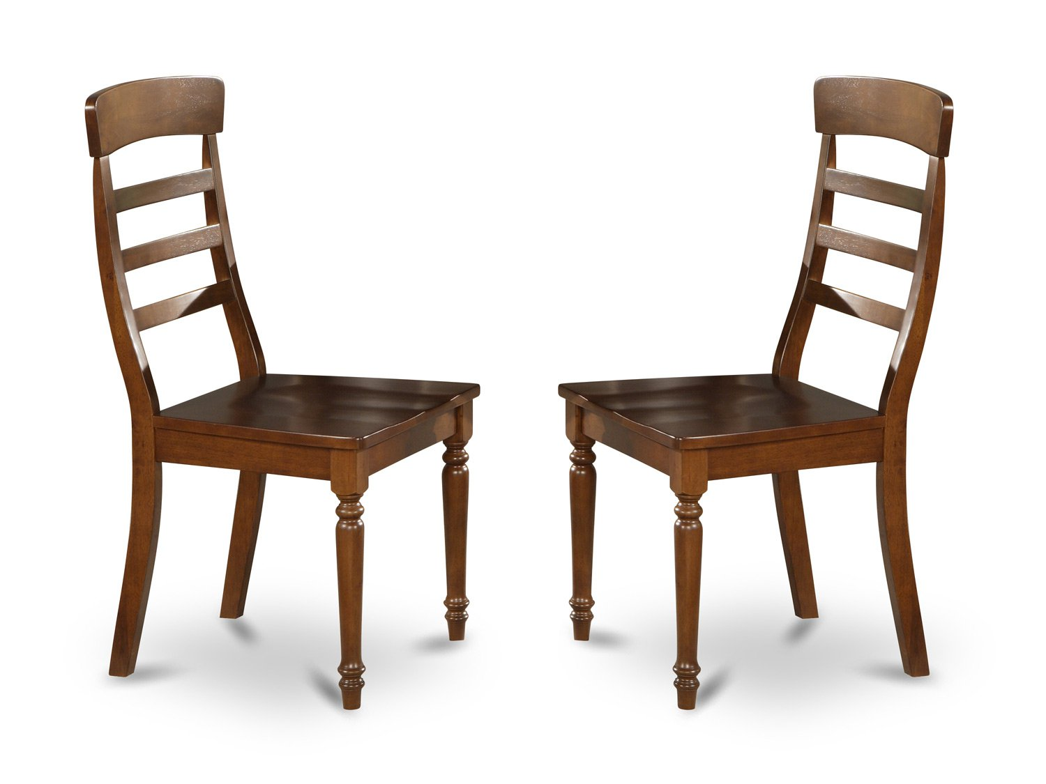 Set of 2 vintage  chairs dining room chairs with wood seat or cushion seat walnut finish.