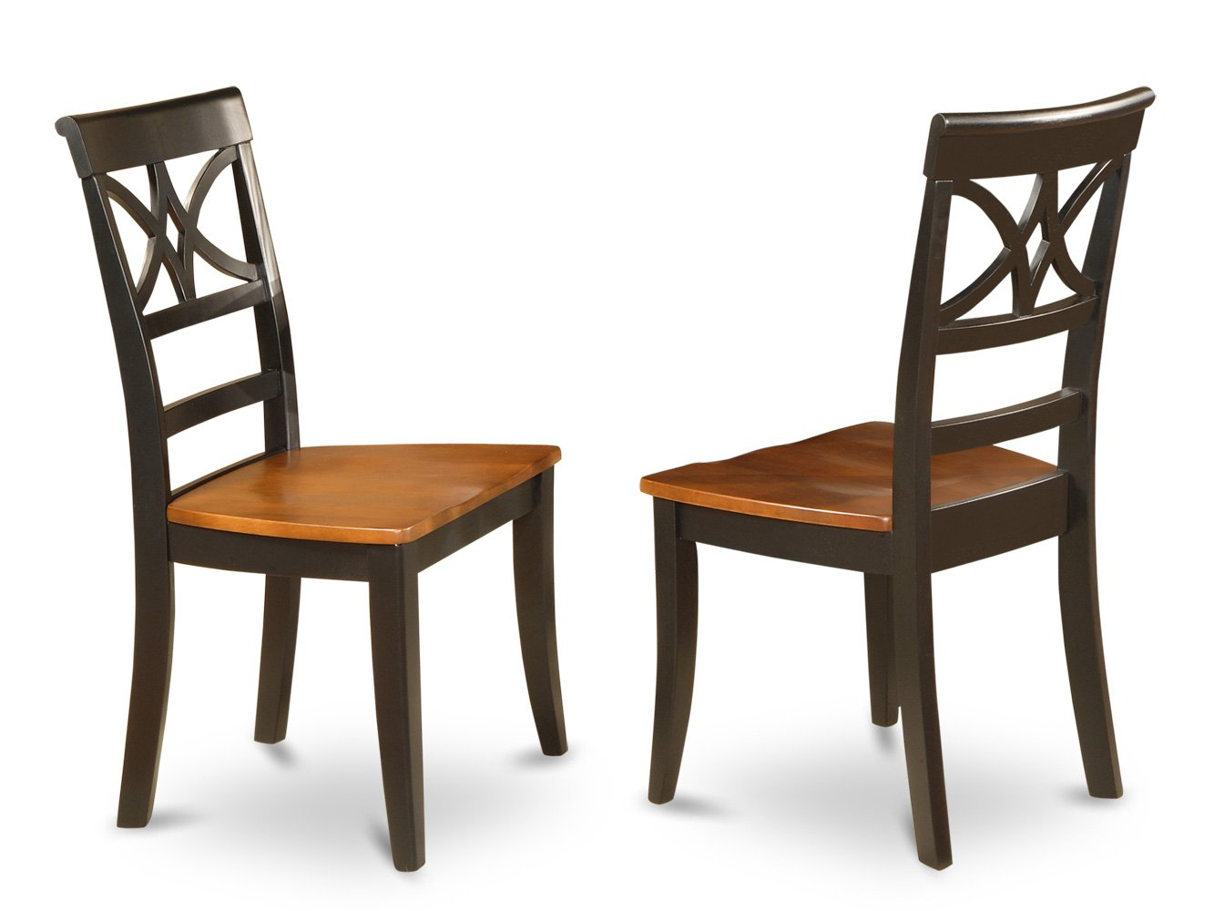 Set of 2 Ellington dining room chairs with upholstered or wood seat in Black & Cherry finish.
