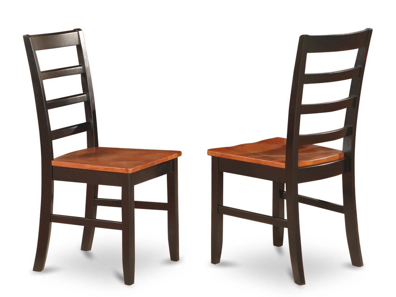 Set of 2 parfait   dining room chairs with wood or upholstery seat in Black & Cherry finish.