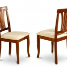 Set of 2 Avon dining room chairs with microfiber upholstered or wood seat in Brown finish.