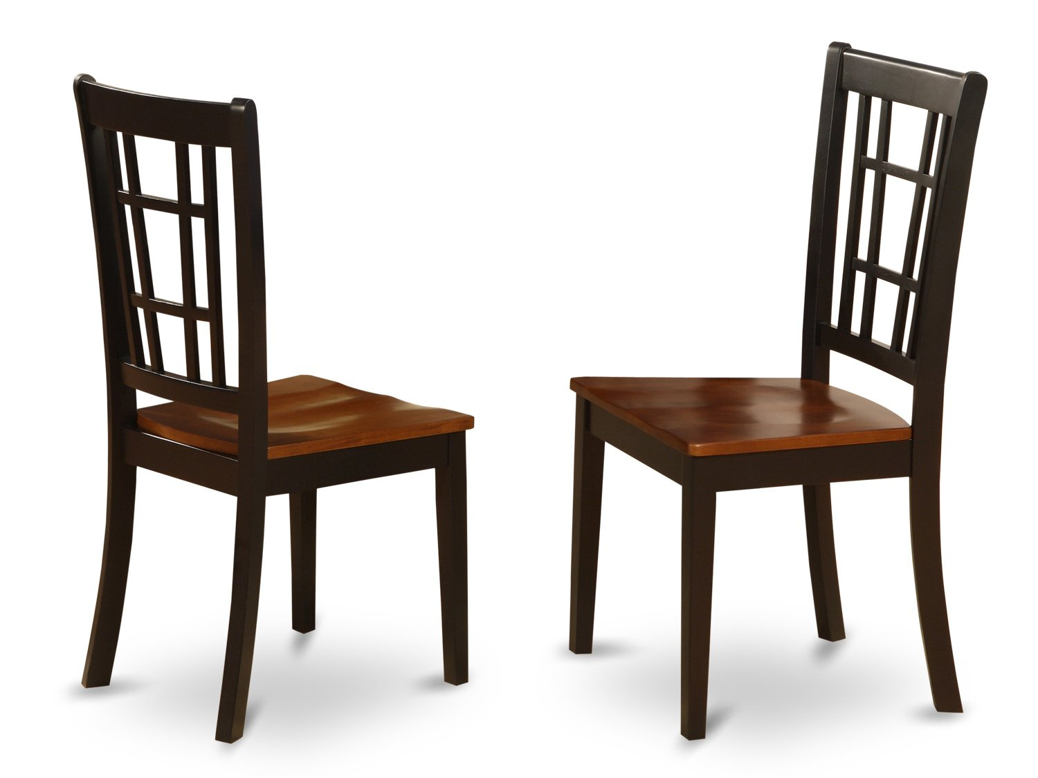 Set of 2 Nicoli  dining room chairs in Saddle Brown & Black finish.