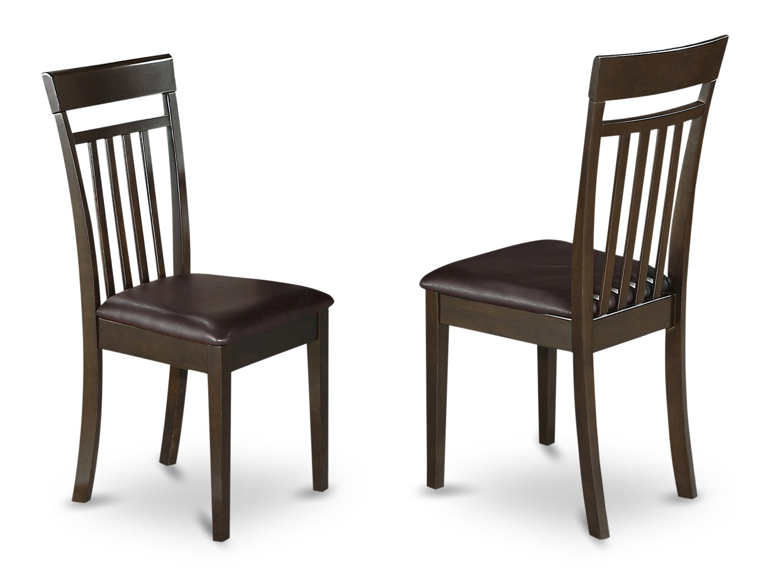 Set of 2 Capri  dining room chairs with faux leather  in Cappuccino finish.