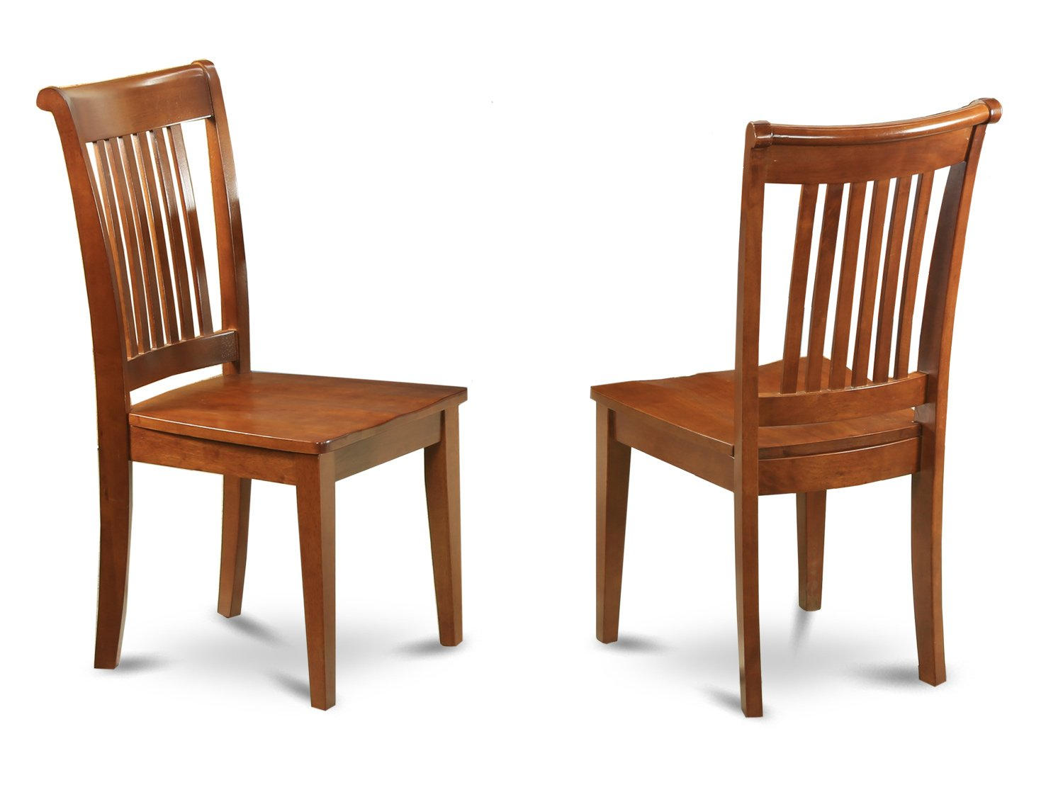 Set of 2 Portland  vertical slat back dining room chairs in Saddle Brown finish.