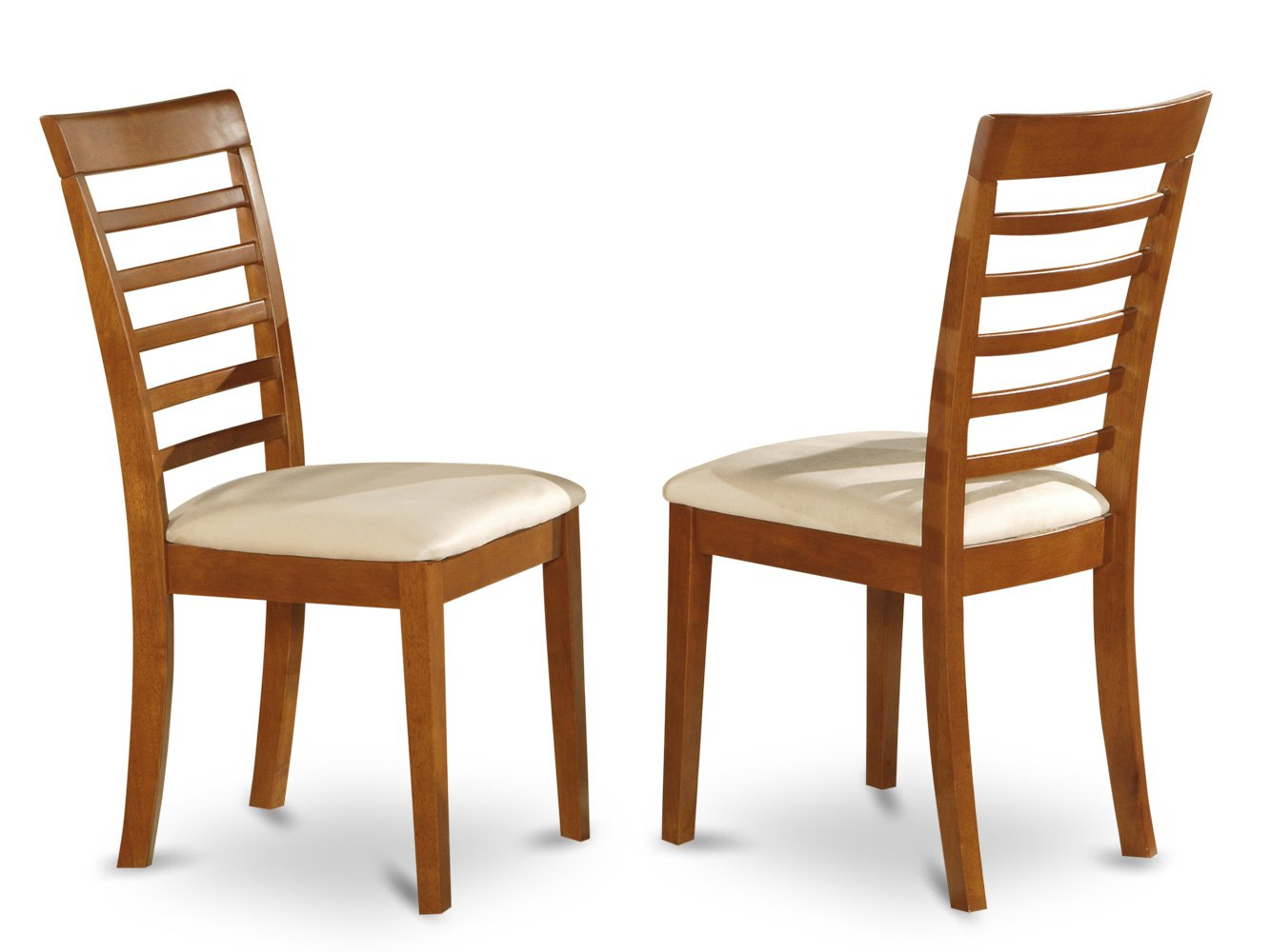 Set of 2 Milan Ladder slat back dining room chairs with  seat in Mahogany finish.