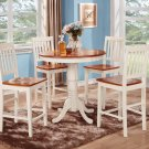 3-PC KITCHEN COUNTER HEIGHT TABLE WITH 2 WOOD SEAT IN BUTTERMILK & CHERRY