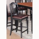 Pack of 4  Chelsea counter height stools with Faux Leather seat in Black & Brown finish.