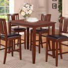 "5PC RECTANGULAR COUNTER HEIGHT SET 30""X48"" TABLE AND 4 FAUX LEATHER CHAIRS. SKU: BU5-LC-MAH"