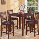 5-Piece Vernon Square Pub Table Set with 4 Faux Leather stools- in Mahogany Finish