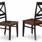 2 Quincy Kitchen chairs with Wood Seat in Black and Cherry Finish