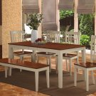 6PC-Nicoli Dinette Dining Set Table with 4 Chairs & 1 Bench in Buttermilk & Cherry. SKU: NICO6-WHI-W