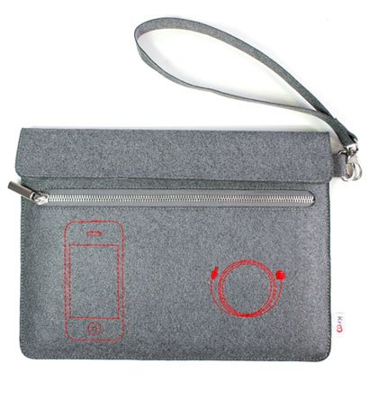 "Kroo Eco-Friendly FELT Wrapper Case fits up to 9"" Tablets (Color: GREY/12103)"