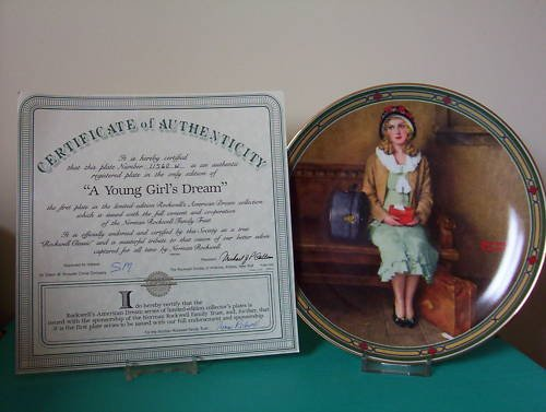 """A Little Girl  """"Dreams"""" Collectors Plate"""