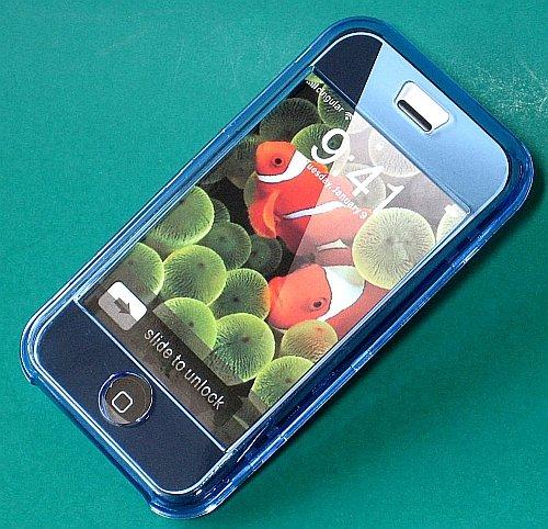 Iphone Hard Crystal Clear Case (Blue) + Belt Clip