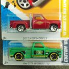 Hot Wheels Custom 69 Chevy Pickup and 78 Dodge lil Red Express Pickup