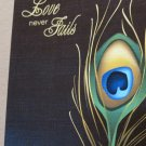 LOVE NEVER FAILS~Peacock Feather~ Chocolate Brown Greeting Note Card