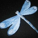(6) Large BLUE Satin DRAGONFLY~Wholesale Iron-On Embroidered Applique Patch Lot