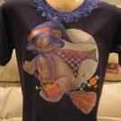 BEAR Flying, MOON, Candy~ Decorated HALLOWEEN Shirt~ M