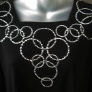 Stylish CIRCLE of LIFE Crystal Rhinestones Bling Shirt~ Black Large, L
