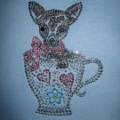 Adorable Rhinestone Studded CHIHUAHUA Puppy Dog in a Hearts Teacup Shirt- Size Medium