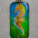 Batik Tropical SEAHORSE Vibrant Orange, Yellow, Blue and Green - Domino Glass Tile Pendant Necklace
