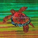 "Hawaiian Honu SEA TURTLE Warm Brown & Green ~10.5"" Organic Cotton Sateen Fabric Quilt Panel Block"