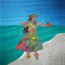 "Hawaiian HULA DANCER Facing Right~ 6.5"" Organic Cotton Sateen Fabric Quilt Panel Block~Beach Luau"