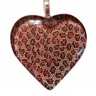 LEOPARD, Cheetah Animal Print~Brown and Gold HEART Shaped Glass Pendant Necklace