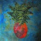 "Hawaiian PINEAPPLE Blue Sky~ 10.5"" Organic Cotton Sateen Fabric Quilt Panel Block"