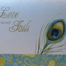 LOVE NEVER FAILS~ Peacock Feather~White & Paisley Greeting Note Card