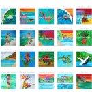 "Your Choice of (15) TROPICAL Beach & HAWAIIAN 10.5"" Fabric Quilt Panel Blocks- Organic Cotton Sateen"
