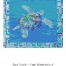 Cross Stitch Pattern Hawaiian Honu SEA TURTLE Blue Ocean Watercolors~Digital PDF File For Printing
